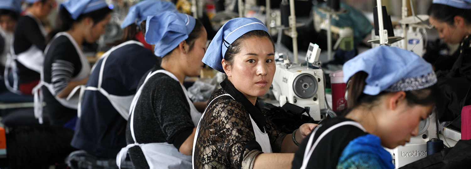 Female labors work in a cloth factory which export to European Union in Huaibei,